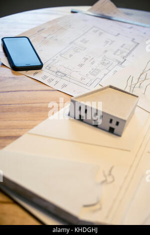 Model building and blueprints - Stock Image