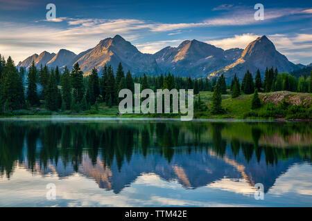 Needle Mountains and Molas Lake, San Juan National Forest, Colorado USA - Stock Image