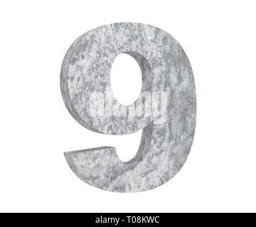3D rendering concrete number 9 nine. 3D render Illustration. - Stock Image