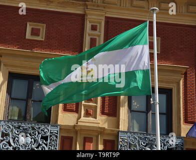 Spain. Andalusia. Seville. Flag of Andalusia. - Stock Image