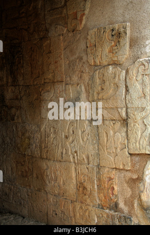 Wall Decoration at the Entrance to the Great Ballcourt, Juego Pelota, Chichen Itza, Yucatan Peninsular, Mexico - Stock Image