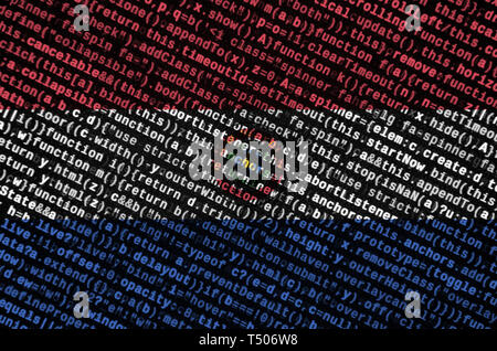 Paraguay flag  is depicted on the screen with the program code. The concept of modern technology and site development. - Stock Image
