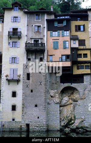 Riverside Houses Pont en Royan Vercors - Stock Image