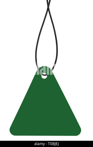 Blank Dark Green Cardboard Sale Tag And String, Empty Price Label Triangle Badge Background, Vertical Hanging Isolated Macro Closeup Copy Space, Large - Stock Image