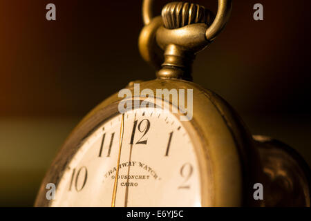 Macro of an antique pocket watch - Stock Image
