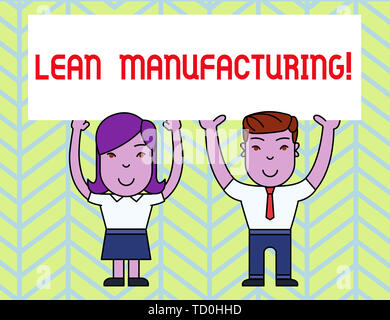 Writing note showing Lean Manufacturing. Business concept for Waste Minimization without sacrificing productivity Two Smiling People Holding Poster Bo - Stock Image