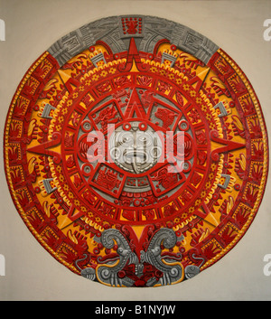 Painting of the Aztec Stone of the Sun, National Museum of Anthropology, Chapultepec Park, Mexico City, Mexico. - Stock Image