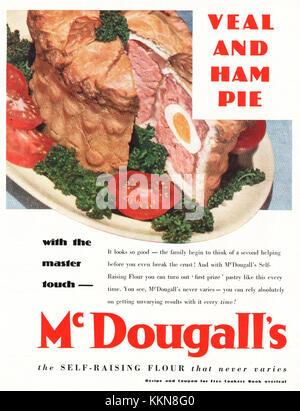 1939 UK Magazine McDougall's Veal and Ham Pie Advert - Stock Image