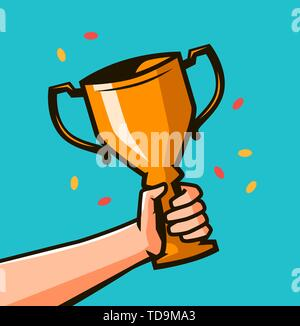 Hand holding winner's trophy award. Winning Gold cup in hands - Stock Image