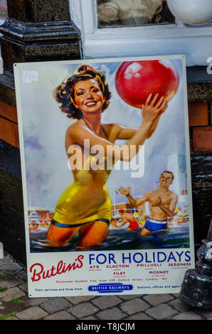 Old Butlin's Holiday Poster - Stock Image
