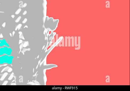 Ripped paper gray grey tulips on a living coral background the Pantone color of the year for 2019 spring, Easter, Mothers Day background - Stock Image