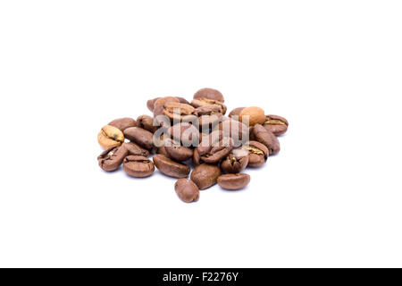 Grains of organic coffee from close range. Isolated on white background. - Stock Image