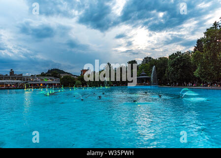 Singing fountain in the central park of Plovdiv, Bulgaria. - Stock Image