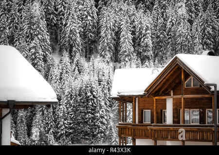 two snowy roofs of houses and pine forest in the background on a cold winter day in the mountains - Stock Image