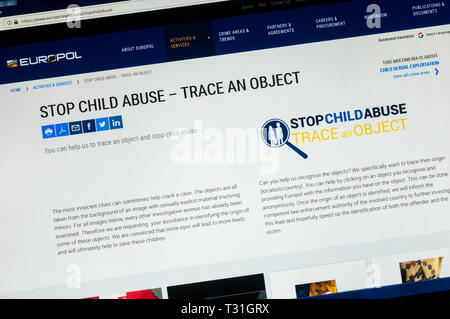 Europol Stop Child Abuse - Trace an Object website. Asks people to help identify objects or places in child abuse videos. - Stock Image