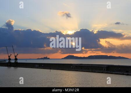 Marseille harbour at sunset, Provence, France - Stock Image