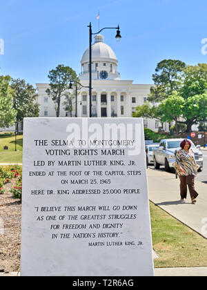 Historical or commemorative marble monument dedicated to the Selma to Montgomery voting rights act march near the Capitol in Montgomery Alabama, USA. - Stock Image