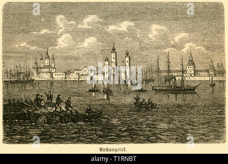 Russia, Northwestern, Arkhangelsk, view to the skyline, image from: 'Das heutige Russland' (Russia today), published by H.v. Lankenau and L.v.d. Oelsnitz, publishing house Otto Spamer, Leipzig, 1876. , Additional-Rights-Clearance-Info-Not-Available - Stock Image