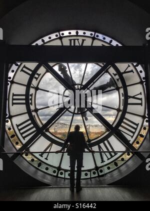 Looking through the clock at Musee d'Orsay towards Montmartre, Paris - Stock Image