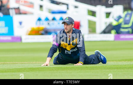 Brighton, UK. 7th May 2019 - Billy Root of Glamorgan fielding during the Royal London One-Day Cup match between Sussex Sharks and Glamorgan at the 1st Central County ground in Hove. Credit : Simon Dack / Alamy Live News - Stock Image
