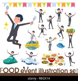 A set of businessman on food events.There are actions that have a fork and a spoon and are having fun.It's vector art so it's easy to edit. - Stock Image