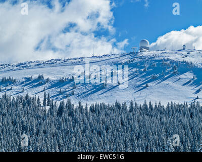 The snow-covered peak of La Dole, highest peak in the Jura mountains, in winter.Ski tracks off the top. - Stock Image