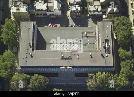 Aerial view of the US Embassy, also known as the American Embassy on Grosvenor Square in Mayfair, London - Stock Image