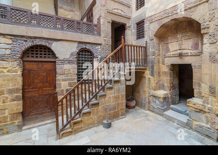 Courtyard of ottoman historic Beit El Set Waseela building (Waseela Hanem House), located near to Al-Azhar Mosque in Darb Al-Ahmar district, Old Cairo - Stock Image