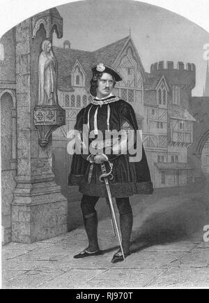 JAMES WILLIAM WALLACK (1791? - 1864) Actor, as 'Gloster' (ie Richard III) in Shakespeare's play - Stock Image