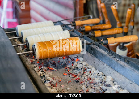 Street vendors selling differnt type of grilled bread at Budapest, Hungary - Stock Image
