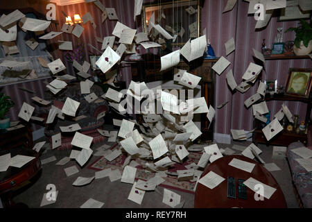 Hundreds of letters Magically arriving for Harry Potter in the living room of 4 Privet Drive, Little Whinging, Surrey. Warner Brothers Studio Tour, - Stock Image