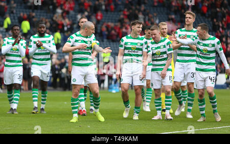 Hampden Park, Glasgow, UK. 14th Apr, 2019. Scottish Cup football, semi final, Aberdeen versus Celtic; Callum McGregor and Scott Brown of Celtic tell Kieran Tierney of Celtic to go and celebrate with the fans Credit: Action Plus Sports/Alamy Live News - Stock Image