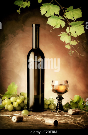 White wine still life in vintage style - Stock Image
