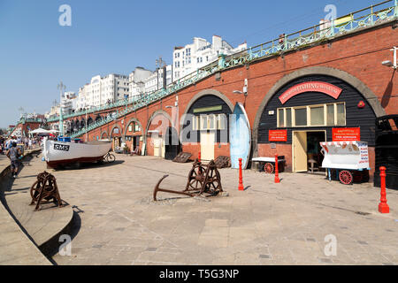 Brighton Fishing Museum in East Sussex, England. Boats, anchors and winches are displayed outside of the museum. - Stock Image