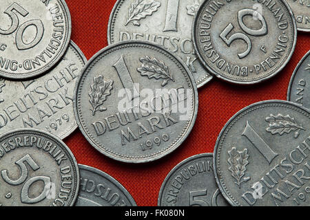 Coins of Germany. German one Deutsche Mark coin. - Stock Image