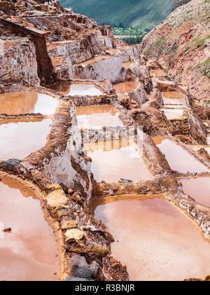 Views of the salt ponds in the Salinas de Maras, near Cusco, Peru - Stock Image