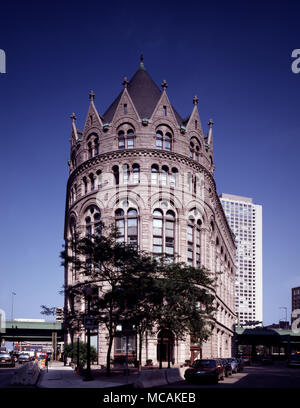 Another castle in Boston! The Flour and Grain Exchange building, which was originally created for the consolidation of two corporate trade bodies - the Boston Commercial Exchange and the Boston Produce Exchange that later became the Boston Chamber of Commerce in 1885. - Stock Image