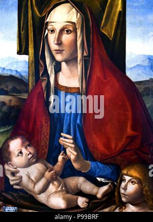 Madonna col Bambino e San Giovannino - Madonna and Child with St. John by Marco Palmezzano 1459-1539 Italy Italian - Stock Image