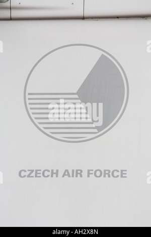Czech Saab Gripen aircraft, close up of national insignia during airshow in Brno 2007 - Stock Image