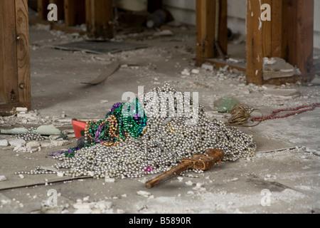abandoned Beads destruction dilapidated dirty drywall frame Gras house hurricane Katrina Louisiana Lower Mardi New - Stock Image