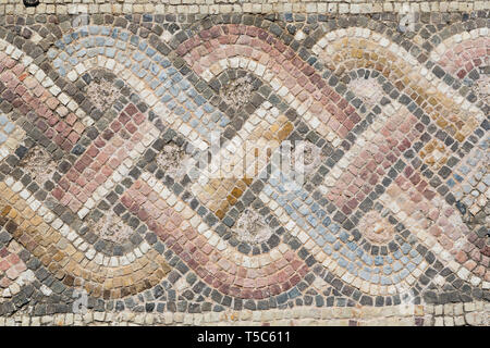 Astract mosaic patterns in the House of Theseus, Paphos Archaeological Park, Paphos, Cyprus - Stock Image