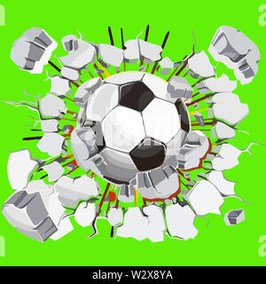 wall ball crack crash impact breaking damage soccer ball dust illustration - Stock Image