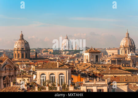 The Skyline of Rome with the Dome of the St. Peter's Basilica, Italy - Stock Image