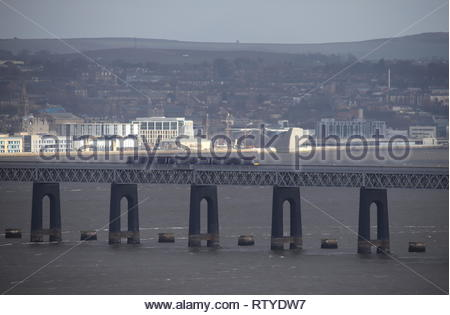 Train crossing Tay Rail Bridge Scotland  February  2019 - Stock Image