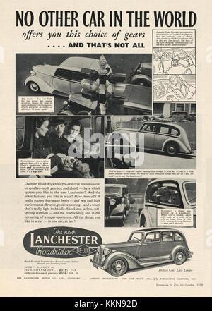1938 UK Magazine Lanchester Car Advert - Stock Image