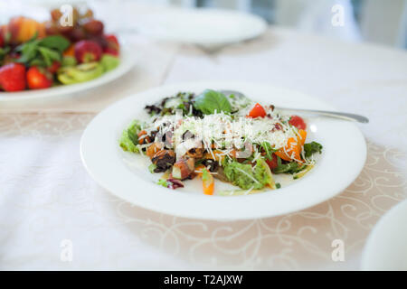 Food on dining table during wedding - Stock Image