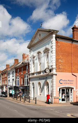 UK, England, Devon, Crediton, High Street, town museum on former Town Hall building - Stock Image