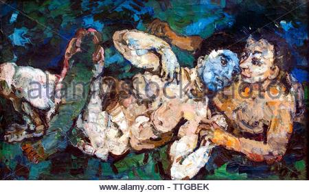 The Heathens, 1918, by Oskar Kokoschka born 1886 Austria Austrian (expressionistic portraits and landscapes) - Stock Image