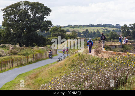 Cyclists and pedestrians on the River Exe trail and Coast path. - Stock Image