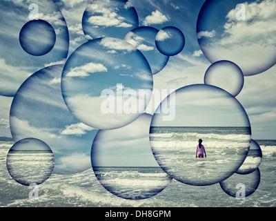 Girl, sea and waves abstract. - Stock Image